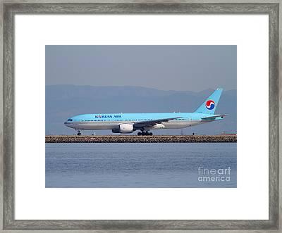 Korean Air Jet Airplane At San Francisco International Airport Sfo . 7d11801 Framed Print