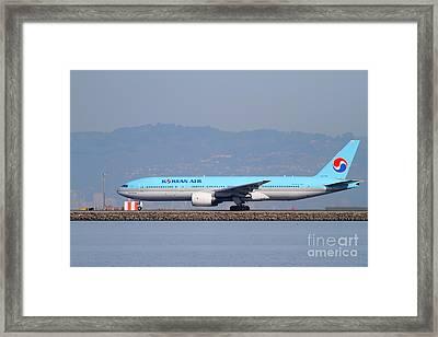 Korean Air Jet Airplane At San Francisco International Airport Sfo . 7d11803 Framed Print