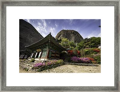 Korean Buddhist Temple With Flowers And Mountains Framed Print by Thomas Arthur