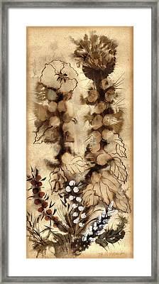 Kotsim Thorny Desert Plants In Brown Flowers Leaves Monochrome White   Framed Print