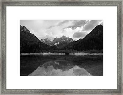 Kranjska Gora In Black And White Framed Print
