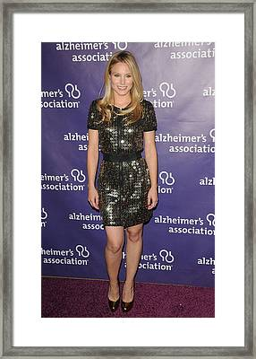Kristen Bell Wearing A Dress By Sea Framed Print