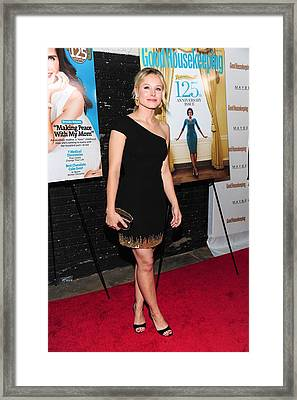 Kristen Bell Wearing A Monique Framed Print by Everett