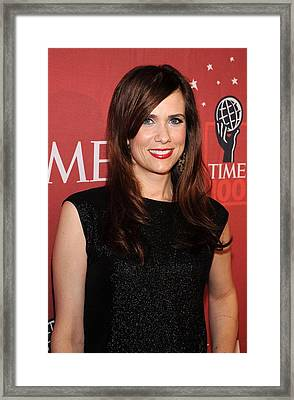 Kristen Wiig At Arrivals For Time 100 Framed Print by Everett