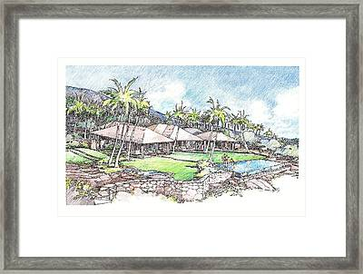 Framed Print featuring the drawing Kukio Home by Andrew Drozdowicz