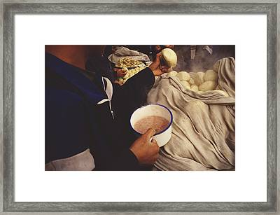 Kung Fu Students Breakfast On Steamed Framed Print by Justin Guariglia