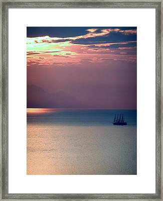 Kusadasi Sunset Framed Print by Steve Mangan