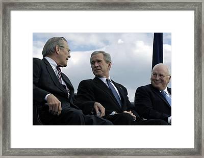 L To R Sec. Of Defense Donald Rumsfeld Framed Print by Everett