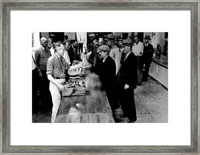 La County Relief Agency Gives Out Food Framed Print