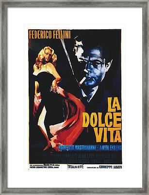 La Dolce Vita, Anita Ekberg, Marcello Framed Print by Everett