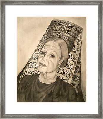 La Dona With Spanish Mantilla Framed Print by Susanne Perez