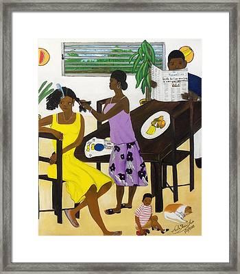 La Famille Framed Print by Nicole Jean-Louis