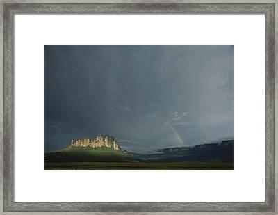 La Gran Sabana Landscape With Rainbow Framed Print by John Burcham