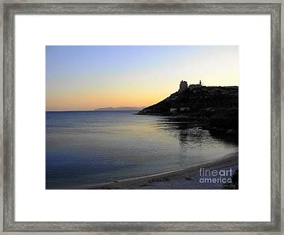 Framed Print featuring the photograph la Pace scende sul Golfo degli Angeli by Mariana Costa Weldon