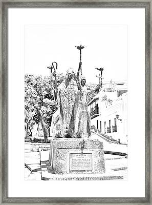La Rogativa Sculpture Old San Juan Puerto Rico Black And White Line Art Framed Print by Shawn O'Brien