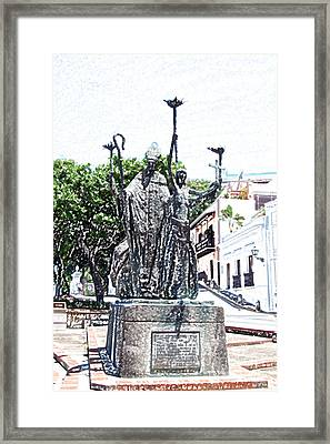 La Rogativa Sculpture Old San Juan Puerto Rico Colored Pencil Framed Print by Shawn O'Brien