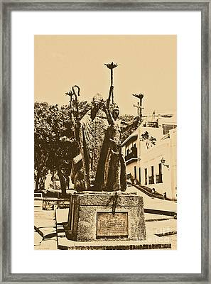 La Rogativa Sculpture Old San Juan Puerto Rico Rustic Framed Print by Shawn O'Brien