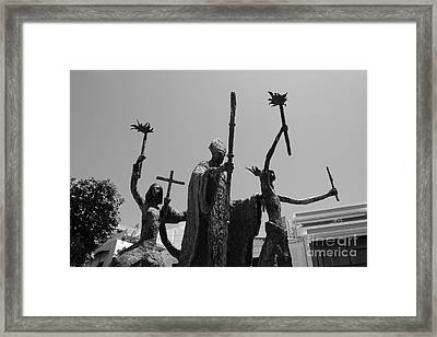 La Rogativa Statue Old San Juan Puerto Rico Black And White Framed Print by Shawn O'Brien