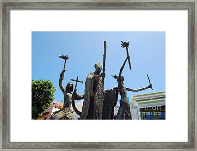 La Rogativa Statue Old San Juan Puerto Rico Framed Print by Shawn O'Brien