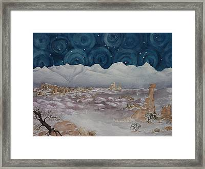 La Sal Mountains In The Snow Framed Print by Estephy Sabin Figueroa