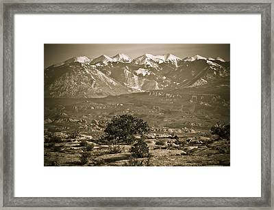 La Sal Mountains Utah Framed Print by Marilyn Hunt