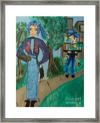 La Shai In Shopping Is Tiresome Framed Print by Marie Bulger