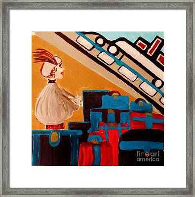 La Shai Waits For The Queen Mary II Framed Print by Marie Bulger