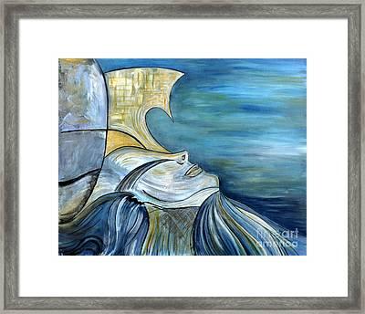 Beautiful Mysterious Blue Woman Portrait La Sirene French For Mermaid Mythic Siren Original Painting Framed Print by Marie Christine Belkadi
