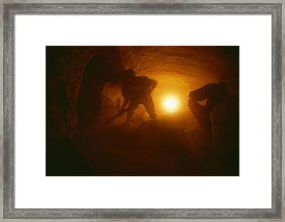 Laborers Clear Rubble From The Tomb Framed Print by Kenneth Garrett