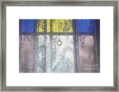 Lace Curtain And Stained Glass Window Panes Framed Print