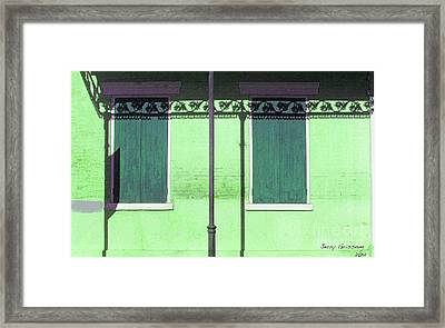 Lace Shadows And Plank Shutters Framed Print by Jerry Grissom