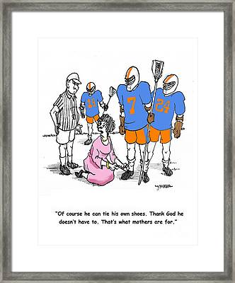 Lacrosse Mom Ties Shoes Framed Print by John Crowther