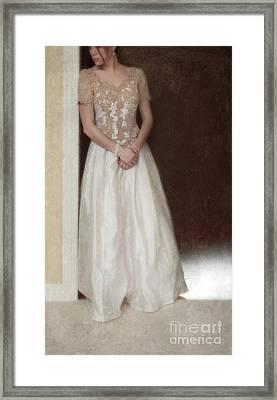 Lacy In Ecru Lace Gown Framed Print by Jill Battaglia