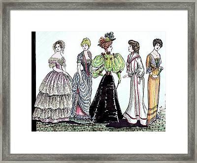 Ladies Of Fashion 1860 To 1910 Framed Print by Mel Thompson