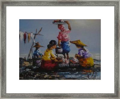 Ladies  Washing Clothes The River Framed Print by Pretchill Smith