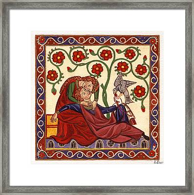 Framed Print featuring the painting Lady And Knight With Hawk by Raffaella Lunelli