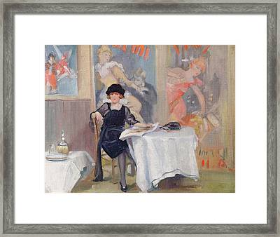 Lady At A Cafe Table  Framed Print by Harry J Pearson