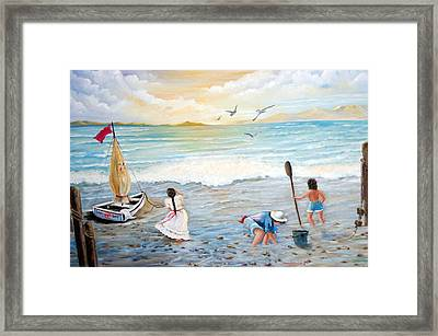 Lady Bay Children On The Beach Framed Print by Janna Columbus