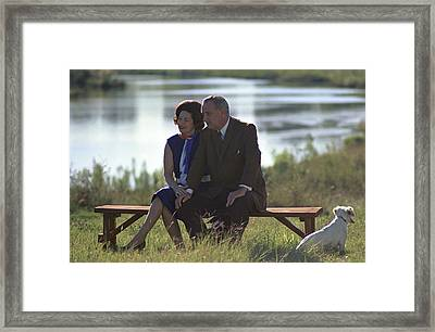 Lady Bird And President Johnson Sit Framed Print by Everett
