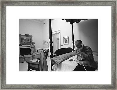 Lady Bird And President Johnson Taking Framed Print by Everett