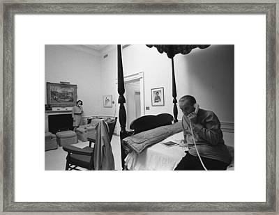 Lady Bird And President Johnson Taking Framed Print by Everett