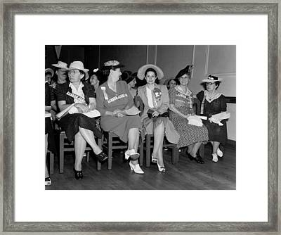 Lady Bird Johnson 3rd From Left Sits Framed Print by Everett