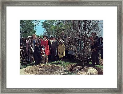 Lady Bird Johnson And Young Boy Framed Print by Everett