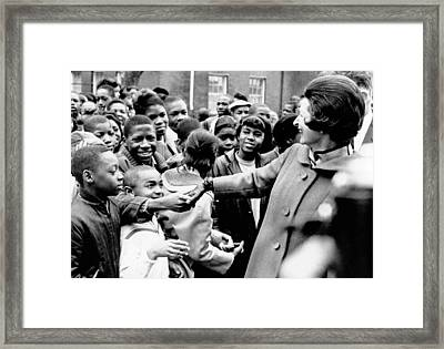 Lady Bird Johnson Greets African Framed Print by Everett