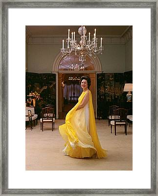 Lady Bird Johnson In A Flowing Framed Print