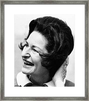 Lady Bird Johnson Smiles As The Wind Framed Print by Everett
