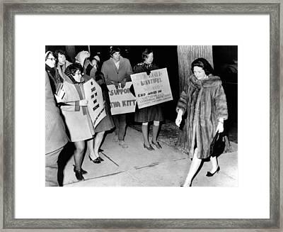 Lady Bird Johnson Walks Past A Group Framed Print by Everett