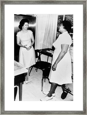 Lady Bird Johnson, With White House Framed Print by Everett