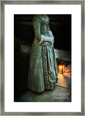 Lady By Lantern Light Framed Print by Jill Battaglia