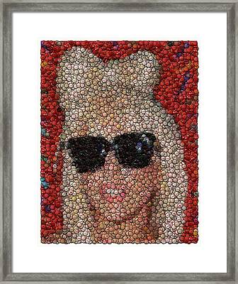 Lady Ga Ga Bottle Cap Mosaic Framed Print by Paul Van Scott